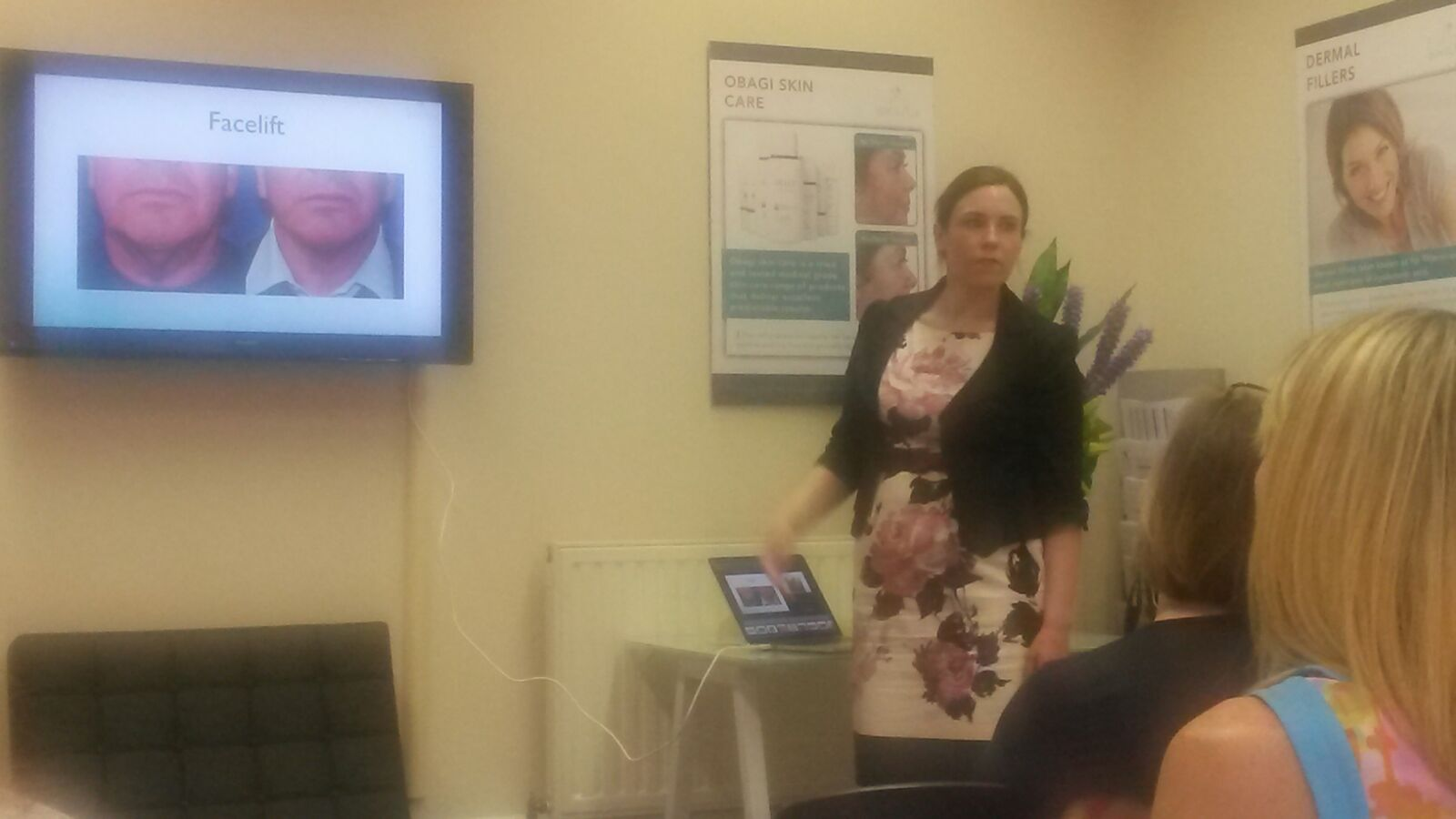 Nora Nugent discussing facelifts at Purity Bridge